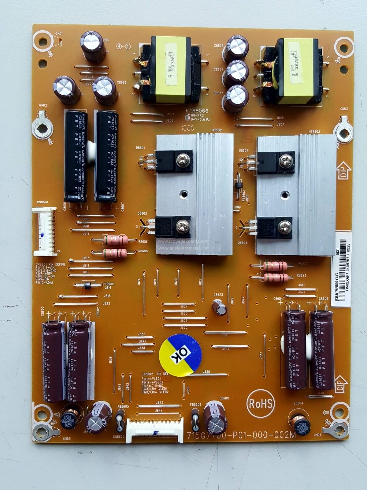 715G7700-P01-000-002M , PHILIPS , LNTVFI502XAF7 , 65PUS6121 , Power Board , Besleme Kartı , PSU