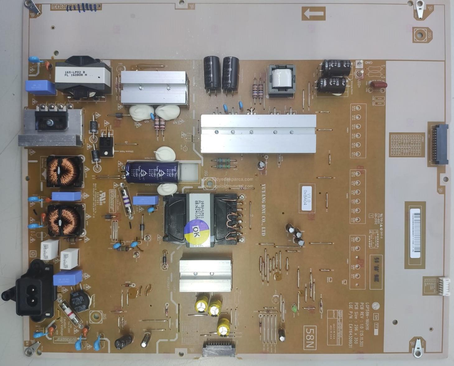 EAY64309931 , LGP58N-16UH16 , LG , 58UH635 , Power Board , Besleme Kartı , PSU