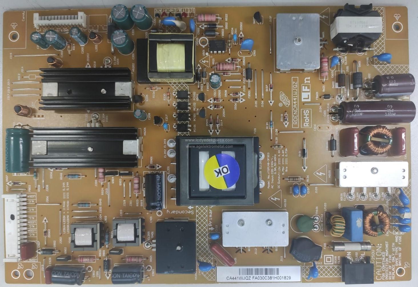 FSP148-3FS03 , 3BS0319510HF , RDENCA441WJQZ , SHARP , LK400D3LB43 , Power Board , Besleme Kartı , PSU